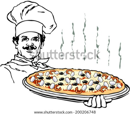 Pizza cook illustration - stock vector