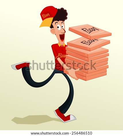 pizza courier on duty - stock vector