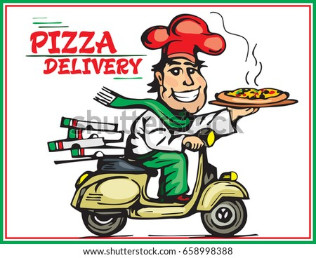 italian pizza delivery chef scooter stock vector 245246377 shutterstock. Black Bedroom Furniture Sets. Home Design Ideas