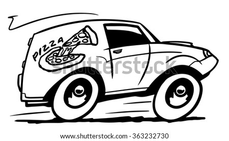 Pizza delivery car. Black and white illustration - stock vector