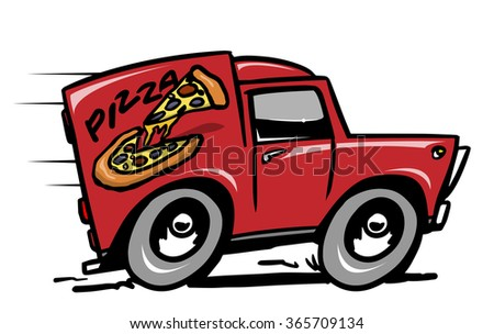 Pizza delivery car. Vector illustration - stock vector