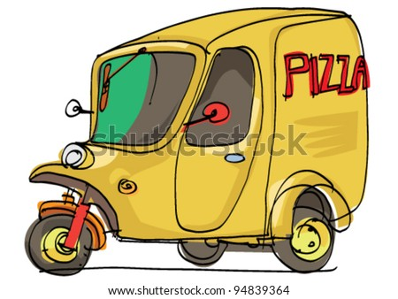 pizza delivery - cartoon - stock vector