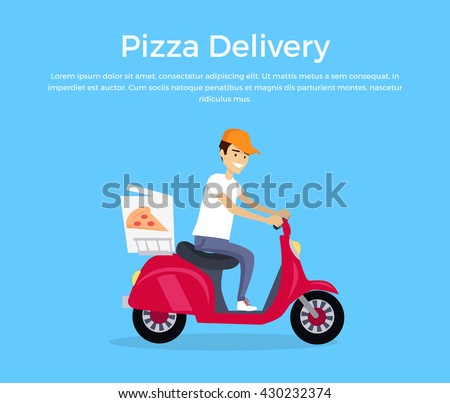 Pizza delivery concept banner design flat. Young man courier in a cap on a fast boat delivers hot pizza. Delivery food from restaurant, fast lunch pizzeria service business, vector illustration - stock vector