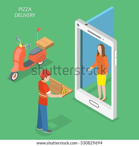Pizza delivery flat isometric vector concept. Pizza courier stays with the box near the door