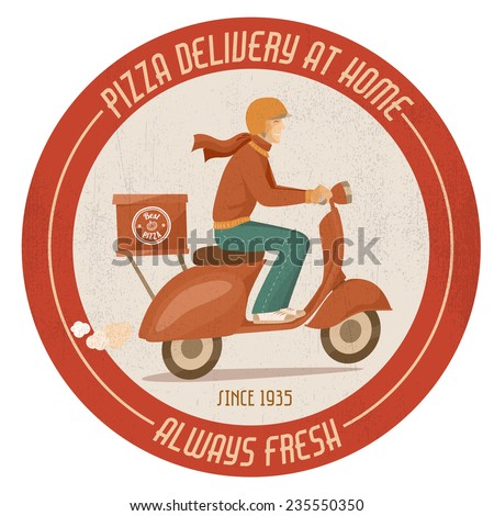 Pizza delivery guy at work on a red scooter vintage badge - stock vector