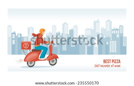 Pizza delivery guy at work on a red scooter with cityscape on background - stock vector