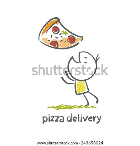 pizza delivery illustration - stock vector