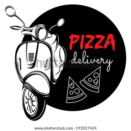 Pizza delivery label - stock vector