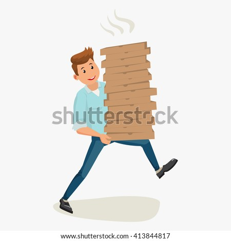 Pizza delivery man holding cardboard boxes. Pizza delivery. Pizza delivery man. Vector cartoon illustration. Pizza delivery man isolated on white background. Pizza delivery man. Pizza delivery boy
