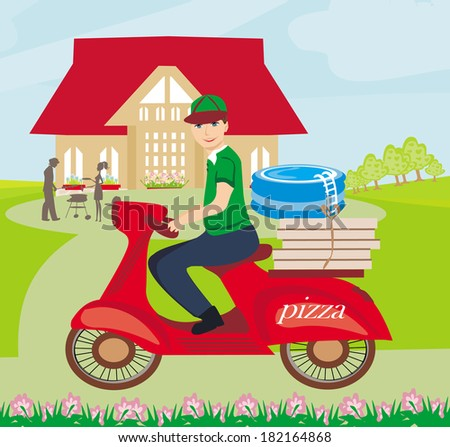 pizza delivery man on a motorcycle  - stock vector