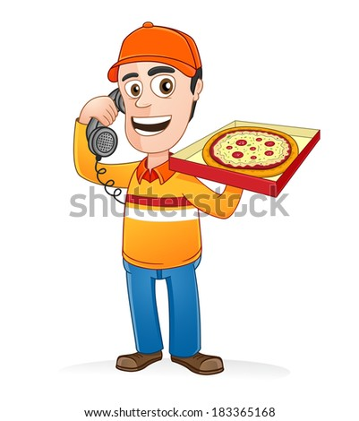 Pizza delivery man speaking on the phone and holding pizza box - stock vector