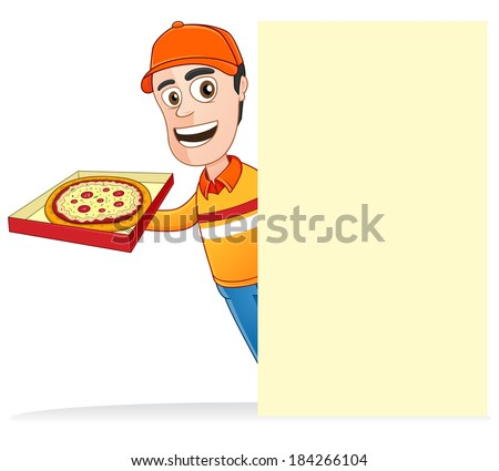 Pizza delivery man with pizza box and holding the blank board  - stock vector
