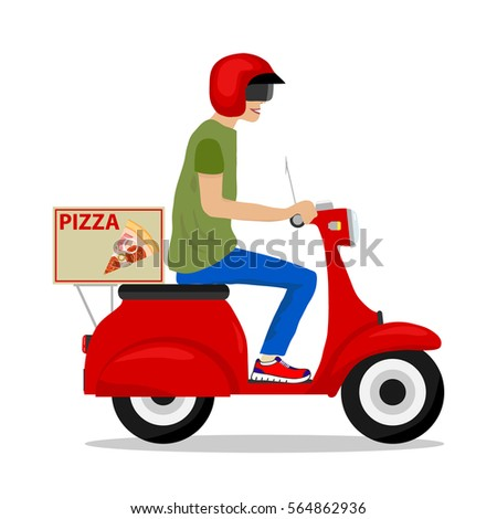 Pizza Delivery Pizza Scooter Man On Stock Vector 564862936 ...