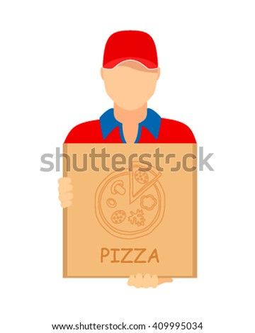 Pizza delivery. Plane icon. Courier man holding a box of pizza. Vector illustration - stock vector