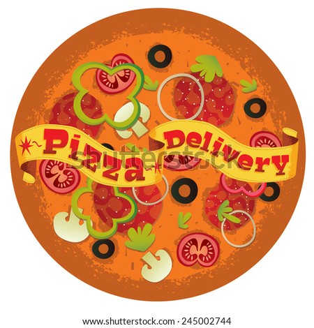 Pizza delivery vector - stock vector