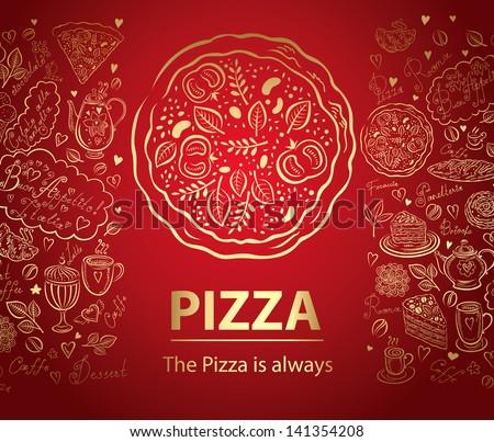 Pizza design menu - stock vector