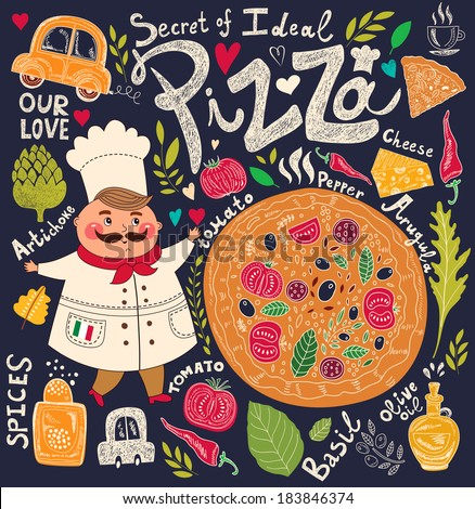 Pizza design menu with chef - stock vector