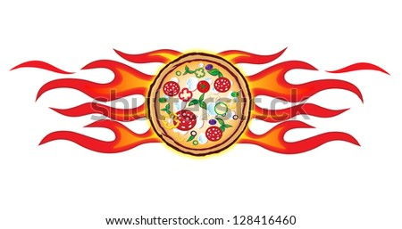 pizza  flames project 3/hot pizza with flames - stock vector
