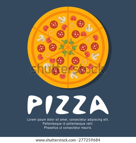 pizza flat design illustration concepts - stock vector
