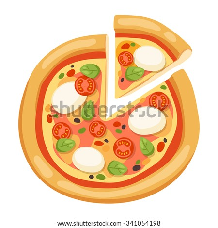 Pizza flat icons isolated on white background. Pizza food silhouette. Pizza piece,pizza slice. Pizza menu illustration isolated. Pizza vector collection isolated on white. Pizza vector silhouette icon - stock vector