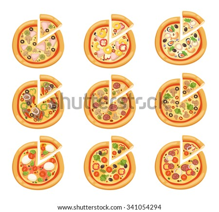 Pizza flat icons isolated on white background. Pizza food silhouette. Pizza piece, pizza slice. Pizza menu illustration isolated. Pizza vector collection isolated on white. Different pizza. Pizza icon - stock vector