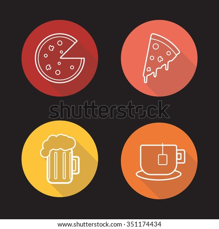 Pizza flat linear icons set. Pizza slice, teacup and beer mug symbols. Pizzeria, cafe and restaurant menu items. Long shadow outline logos. Vector line art illustrations - stock vector