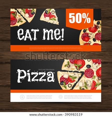 Pizza Flyer Gift Voucher Template Vector Stock Vector - Pizza gift certificate template