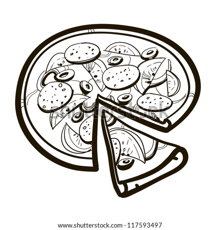 Pizza from the top - Deluxe. A children's sketch