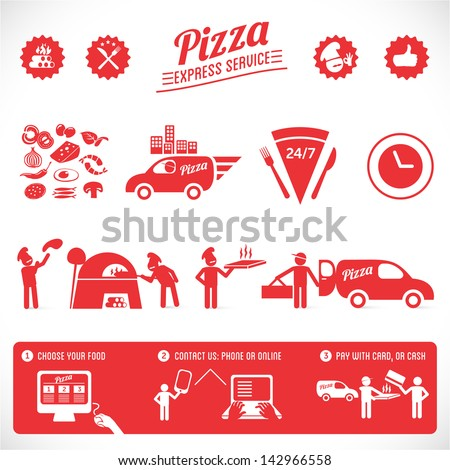 pizza graphic elements, fast delivery  service, online food order - stock vector
