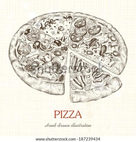 Pizza, hand-drawn illustration. - stock vector