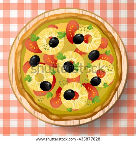 Pizza Hawaiian with tasty pineapple or ananas, tomato sauce, olive, cheese mozzarella, oregano, fresh parsley on wooden cutting board on red-white tablecloth. Top view close-up vector illustration.  - stock vector