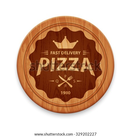Pizza hipster label or badge on round cutting board, vector design template
