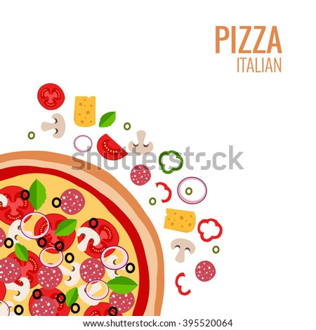 Pizza icon background. Pizza icon flat design.  Flat illustration of pizza ingredient for pizza menu. Vector pizza  ingredient collection. Pizza icon.  Pizza piece food illustration - stock vector