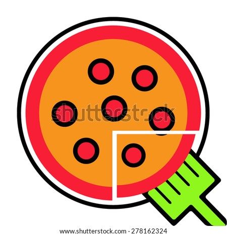 Pizza Icon Flat - stock vector