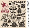 Pizza icons, labels, signs, symbols and design elements - stock photo