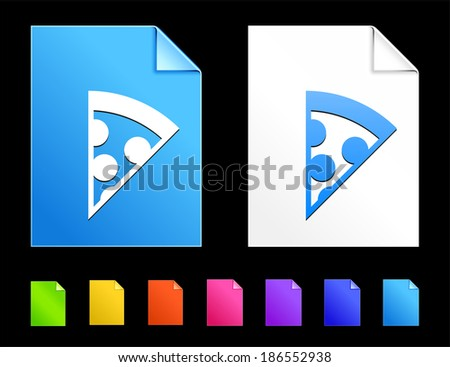 Pizza Icons on Colorful Paper Document Collection - stock vector
