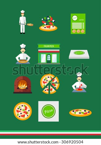Pizza icons with pizzeria and chef set. vector illustration - stock vector
