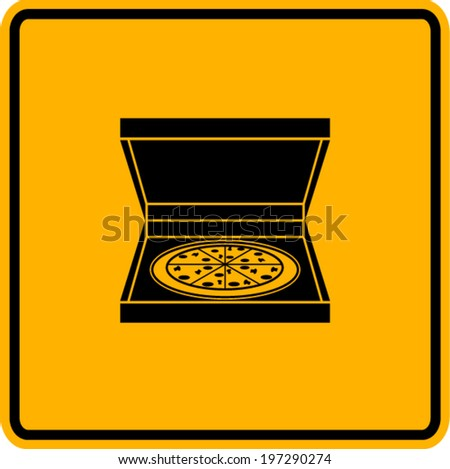 pizza in box sign - stock vector