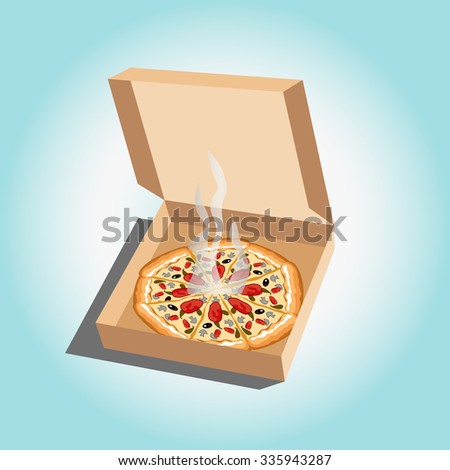 Pizza in the opened box