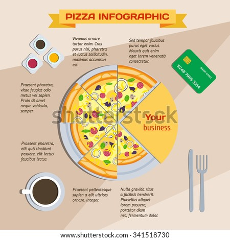 Pizza infographics. Delicious pizza slices and place for text. Selling fast food. Business lunch. Cooking and delivery pizza. Delicious pizza for breakfast, lunch and dinner. Time hot pizza - stock vector