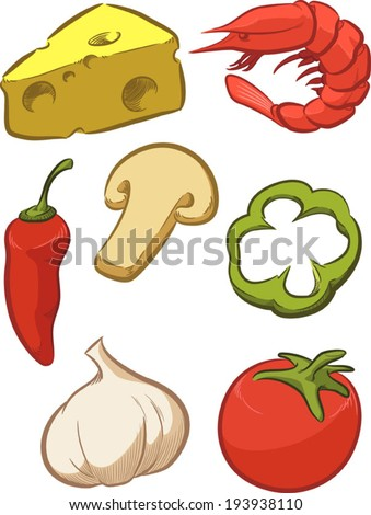 Pizza Ingredient - Tomato, Cheese, Pepper, Onion - stock vector