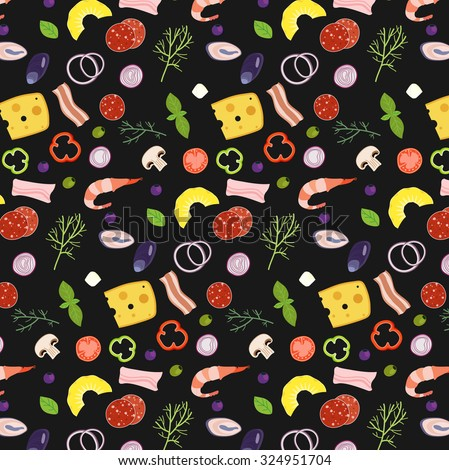 Pizza ingredients illustrations icons pizzeria wallpaper pattern with colorful elements and black background - stock vector