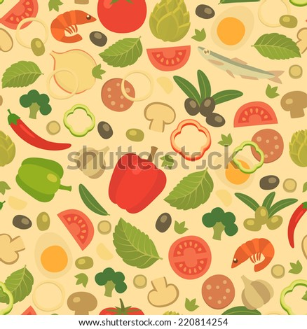 pizza ingredients, pale seamless pattern, cartoon flat style illustration - stock vector