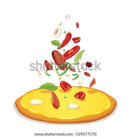 Pizza Ingredients. Vector Pizza and Falling Ingredients Isolated on White