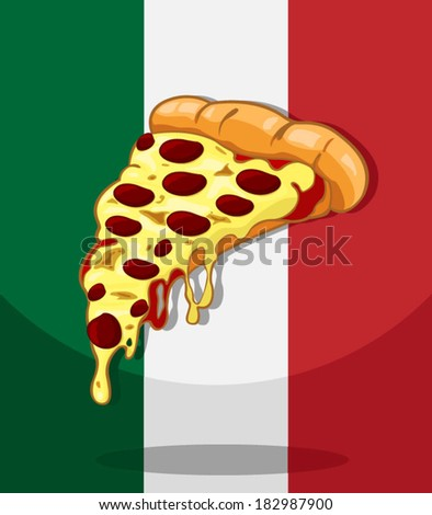 Pizza. Italy flag Background vector  - stock vector