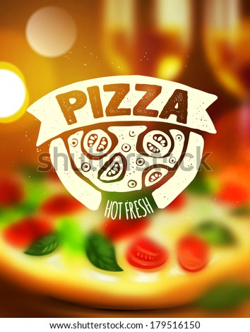 Pizza label on blurred background - stock vector