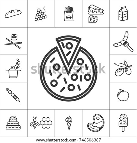 pizza. line food icon set on white background