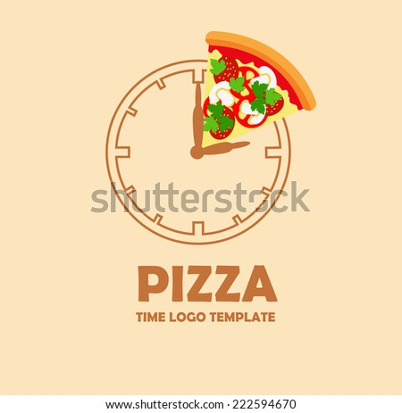 Pizza logo design template. Corporate icon such as logotype. Pizza slice on the graphic stylized clock. Vector - stock vector