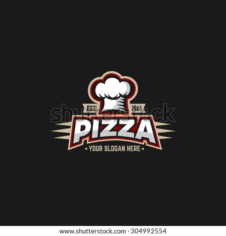 Pizza logo design template with cap chefs.  - stock vector