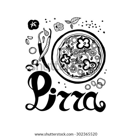 Pizza logo. Hand drawn pizza, peppers, onions, garlic, tomato, mushrooms and inscription. - stock vector